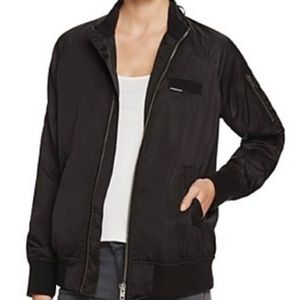 Members Only Satin Black Bomber Jacket Large